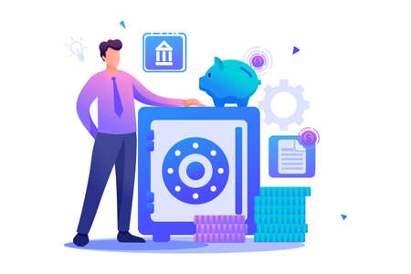 Man keeps money in the Bank, keeping money in a Bank Deposit. Flat 2D character. Concept for web design.