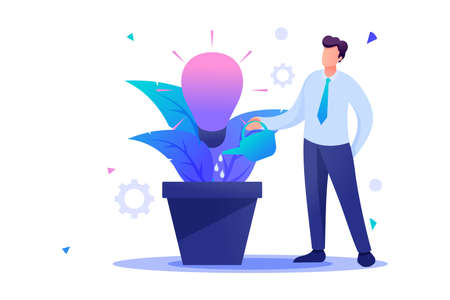 Young man is watering a pot with a growing business idea, startup. Flat 2D character. Concept for web design.