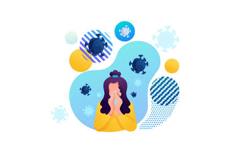 Stop the virus. The girl suffers from a runny nose, cold, flu. Bacteria are flying around. Flat 2D character. Concept for web design.