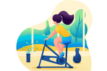 Young girl plays sports at home. Home training. Flat 2D character. Concept for web design.