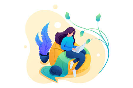 Young girl works at home on a soft chair, remote work, freelancer. Flat 2D character. Concept for web design. Illustration