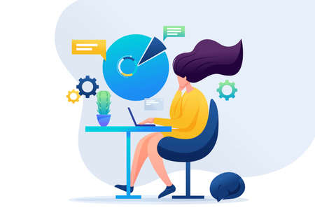 Girl working at the remote work. Work at home, freelancer. Flat 2D character. Concept for web design.