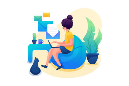 Young girl works at home, Remote work, sending messages. Flat 2D character. Concept for web design.