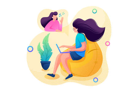 Young girl communicates online with a friend via video link. Flat 2D character. Concept for web design.