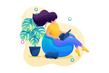 Stay at home, a young girl is sitting at home watching movies on a laptop. Flat 2D character. Concept for web design.