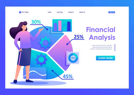 Young girl analyze the information. Flat 2D character. Landing page concepts and web design.