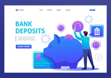 Young man puts money in a Bank Deposit. Flat 2D character. Landing page concepts and web design.