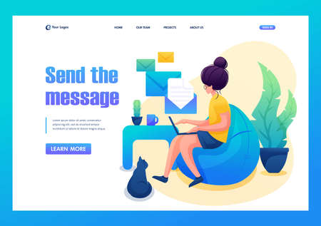 Young girl works at home, Remote work, sending messages. Flat 2D character. Landing page concepts and web design. 일러스트