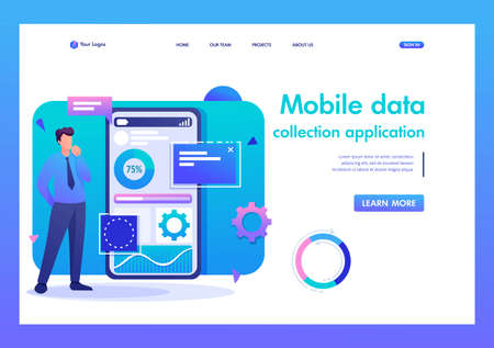 Man works on a mobile application for data collection. Flat 2D character. Landing page concepts and web design.