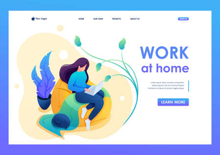 Young girl works at home on a soft chair, remote work, freelancer. Flat 2D character. Landing page concepts and web design.