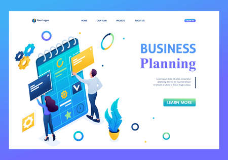 Young team of entrepreneurs is working on the creation of a business plan. 3D isometric. Landing page concepts and web design.
