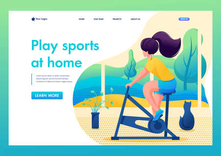 Young girl plays sports at home. Home training. Flat 2D character. Landing page concepts and web design. Illustration