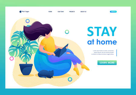 Stay at home, a young girl is sitting at home watching movies on a laptop. Flat 2D character. Landing page concepts and web design. 일러스트