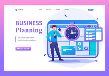 Entrepreneur plans the time for calendar for the month. Flat 2D character. Landing page concepts and web design.