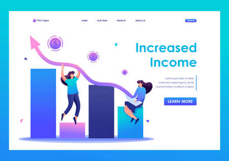 Young girls create a profitable business and increase revenues. Flat 2D character. Landing page concepts and web design.