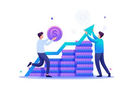 Entrepreneur invests money in a profitable business partner. Flat 2D character. Concept for web design.