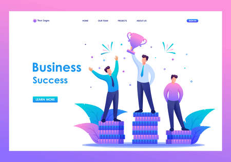 Success of the entrepreneur in business, leadership, awards. Flat 2D character. Landing page concepts and web design. 일러스트