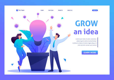 Young people enjoy the growth of business idea. Flat 2D character. Landing page concepts and web design.