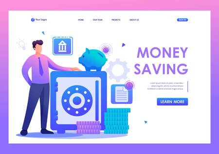 Man keeps money in the Bank, keeping money in a Bank Deposit. Flat 2D character. Landing page concepts and web design.