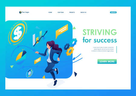Business lady is committed to success, runs on a planned schedule. 3D isometric. Landing page concepts and web design.