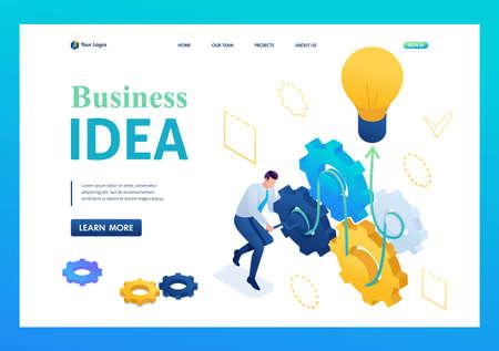 Entrepreneur develops a business idea twists gears. Creating a business idea. 3D isometric. Landing page concepts and web design. 일러스트