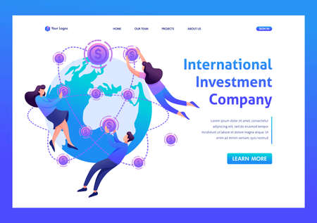 Concept International investment company. Flat 2D character. Landing page concepts and web design. Illustration