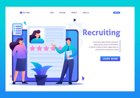 Young team looking for employees online, recruitment concept. Flat 2D character. Landing page concepts and web design,