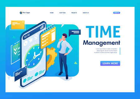 Businessman engaged in time management using the application on the smartphone. 3D isometric. Landing page concepts and web design.
