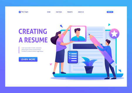 Young team creates a resume, applicant. Flat 2D character. Landing page concepts and web design.
