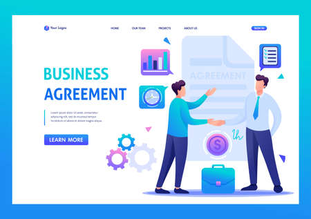 Businessmen agreement partners, growth revenue schedules. Flat 2D character. Landing page concepts and web design,
