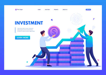Entrepreneur invests money in a profitable business partner. Flat 2D character. Landing page concepts and web design. 일러스트