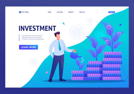 Businessman increase investment, capital, income growth. Flat 2D character. Landing page concepts and web design. 向量圖像