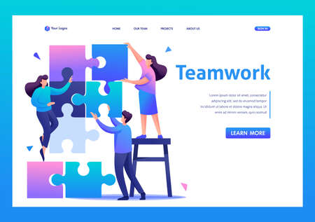 People connecting puzzle elements, teamwork, cooperation, partnership.Flat 2D character. Landing page concepts and web design.