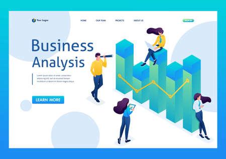 Team of professionals engaged in business analysis, young girls with gadgets at work. 3D isometric. Landing page concepts and web design. Illustration