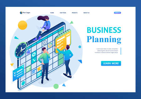Team working on the business plan, employees fill in the calendar fields. 3D isometric. Landing page concepts and web design. Illustration