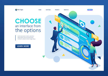 Man chooses the interface from the options, customize the user interface. 3D isometric. Landing page concepts and web design. 일러스트