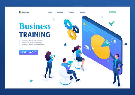 Entrepreneur coach teaches employees of the company. Business training. 3D isometric. Landing page concepts and web design. 일러스트