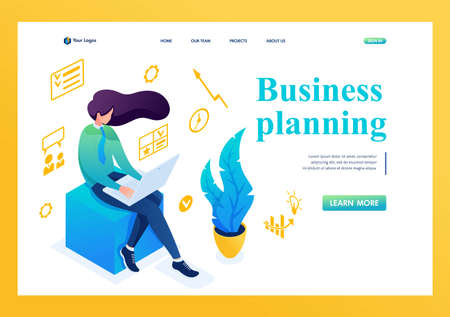Young girl is engaged in business planning on a laptop. The concept of planning. 3D isometric. Landing page concepts and web design.