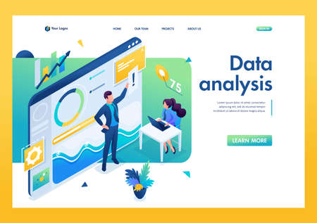 Young entrepreneurs are working on data analysis. Work with graph Research. 3D isometric. Landing page concepts and web design.