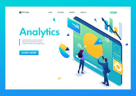 Young entrepreneurs are working with a chart on a tablet. Data Analytics. 3D isometric. Landing page concepts and web design.