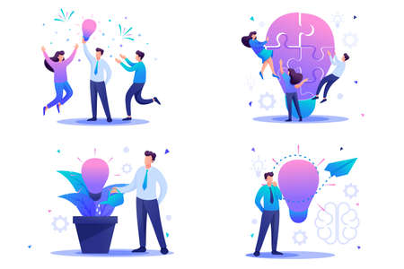 Set Flat 2D concepts to create new ideas, startup. Brainstorm business ideas. For Concept for web design. Illustration