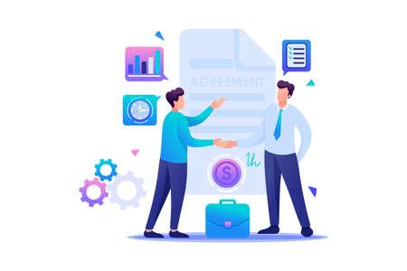 Businessmen agreement partners, growth revenue schedules. Flat 2D character. Concept for web design.