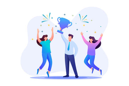 Successful businessman celebrating a victory, teamwork. Flat 2D character. Concept for web design.