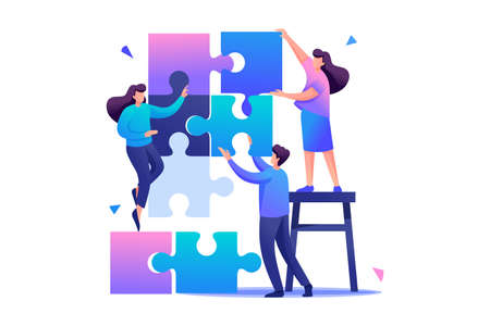 People connecting puzzle elements, teamwork, cooperation, partnership. Flat 2D character. Concept for web design.