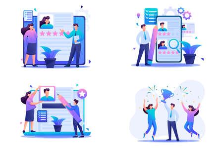 Set Flat 2D concepts HR managers, Recruiting, Creating a resume. For Concept for web design. Illusztráció