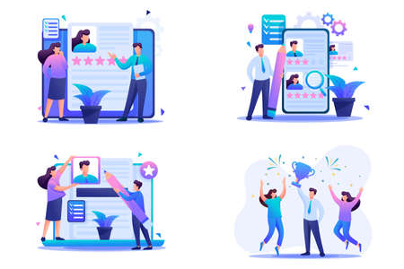 Set Flat 2D concepts HR managers, Recruiting, Creating a resume. For Concept for web design. Illustration