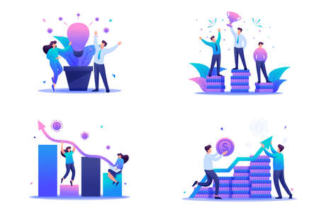 Set Flat 2D concepts increased income, business success, Investment. For Concept for web design.