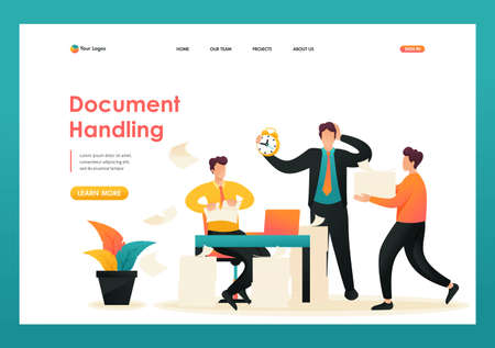 Stressful situation, process of collecting documents for the report. Flat 2D character. Landing page concepts and web design. 스톡 콘텐츠 - 150497125