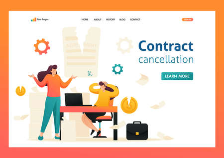 Termination of the contract, broke the agreement partners. Flat 2D character. Landing page concepts and web design.