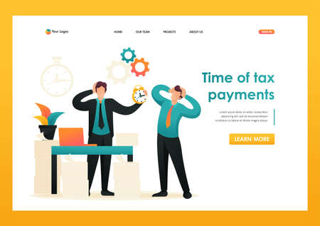 Stressful situation, Time of tax payments. Flat 2D character. Landing page concepts and web design.